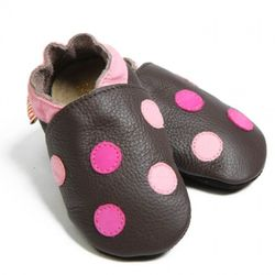 Topánky Liliputi - bodkované hnedé