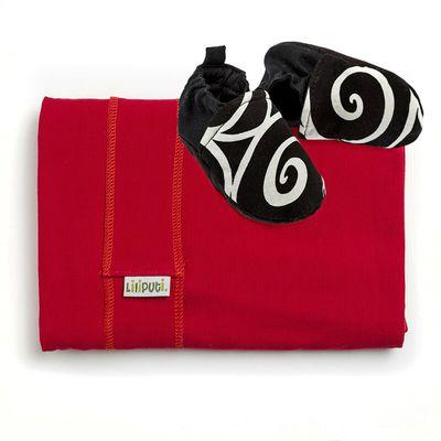 Set - šatka červená + capačky Elegance