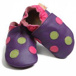 Topánky Liliputi - bodkované fialové